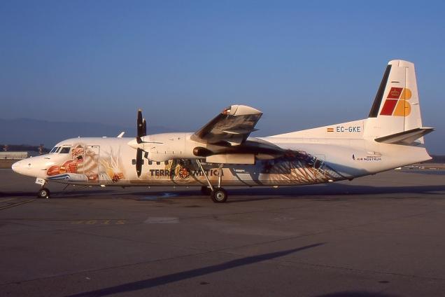 Fokker 50 - Aer Nostrum (Iberia Regional) - EC-GKE - Genève GVA/LSGG Janvier 2001 - Photo copyright: Gilles Brion