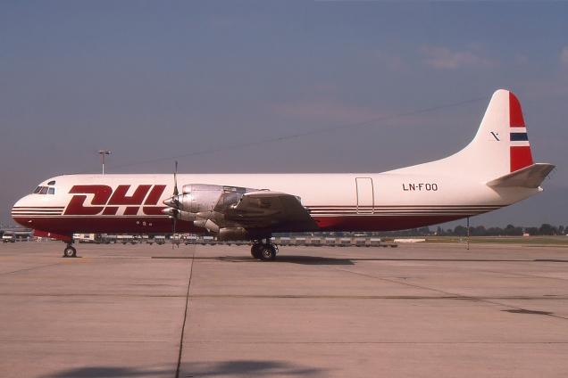 Lockheed L188 Electra - DHL - LN-FOO - Genève GVA/LSGG Août 1994 - Photo copyright: Gilles Brion