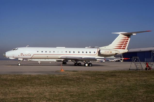 Tupolev 134A - Aurela - LY-ASK - Genève GVA/LSGG Février 1997 - Photo copyright: Gilles Brion